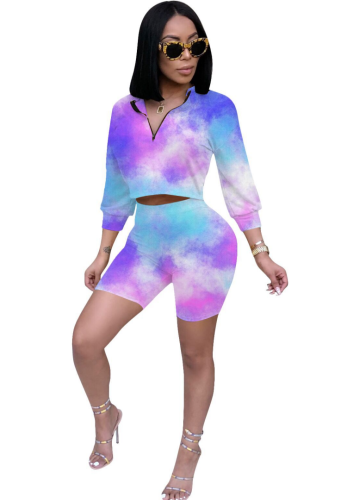 Tie Dye Ombre Colorblock Shorts Set