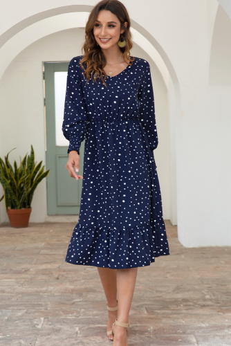 Navy Polka Dots Long Sleeve Dress