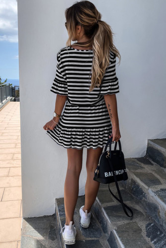 Black Stripes Ruffle Short Dress LC221072