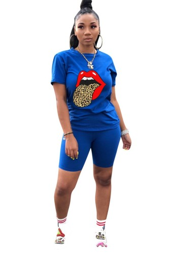 Leopard Lip Print Plus Size 2pcs Set 6362