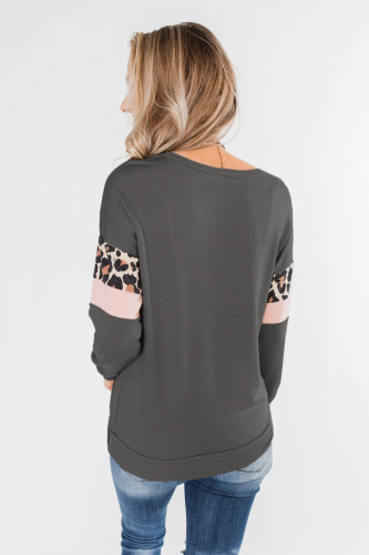 Gray Long Sleeve Leopard Stripes Pocket Blouse LC2521237