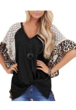 Leoprad Wide Sleeve Twisted Lace Top