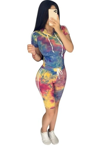Tie Dye Shorts Set with Hoodies