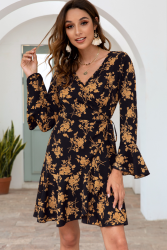 Black Floral Printed V-neck Drawstring Dress