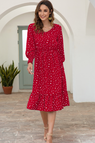 Red Polka Dots Long Sleeve Dress