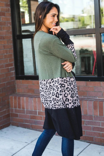 Green Leopard Splicing Colorblock Cardigan LC851161