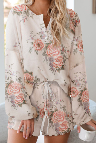 Floral Print Knit Pajamas Set