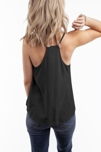 Black V Neck Strappy Embroidery Tank Top LC253499