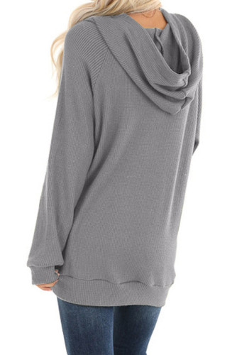 Gray Waffle Knit Hooded Top with Asymmetrical Button Detail LC253729