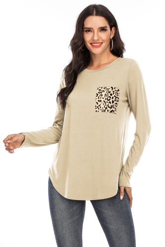 Kahki Solid Top with Leopard Pocket