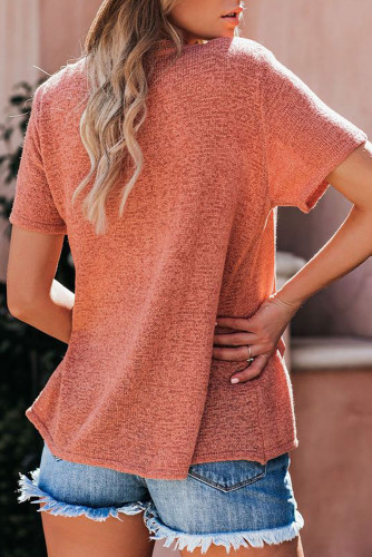 Orange Short Sleeve Knit Top LC251584