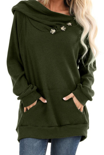 Green Waffle Knit Hooded Top with Asymmetrical Button Detail