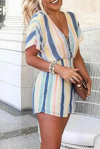 Striped Print V-neck Button Romper LC64426