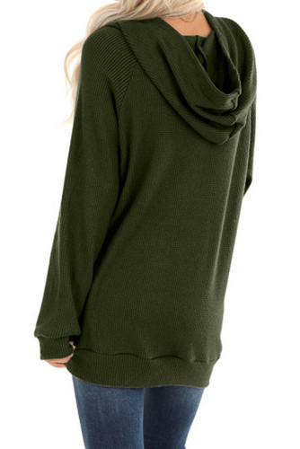 Green Waffle Knit Hooded Top with Asymmetrical Button Detail LC253729