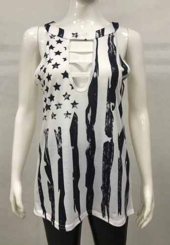 American Flag Hollow Out Plus Size Tank Top XC803