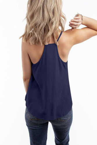 Blue V Neck Strappy Embroidery Tank Top LC253499