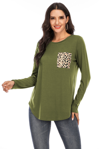 Army Green Solid Top with Leopard Pocket