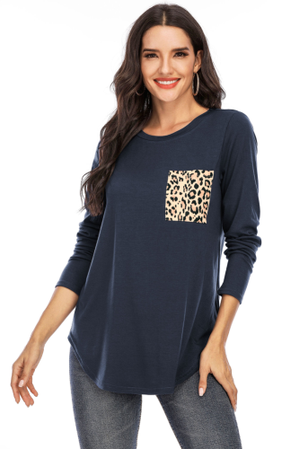 Navy Solid Top with Leopard Pocket