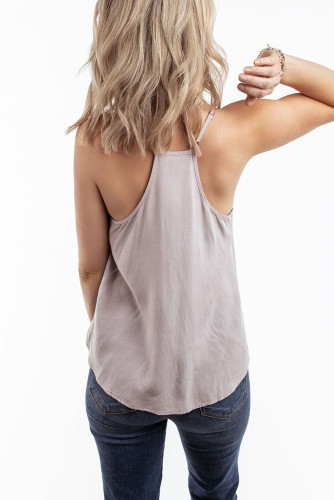 Gray V Neck Strappy Embroidery Tank Top LC253499
