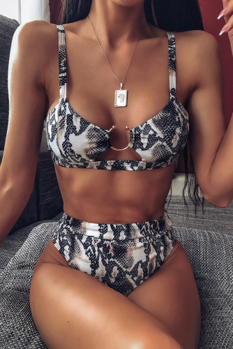 Snake Print High Waisted Bikini Swimsuit