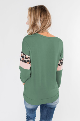Mint Long Sleeve Leopard Stripes Blouse LC2521237