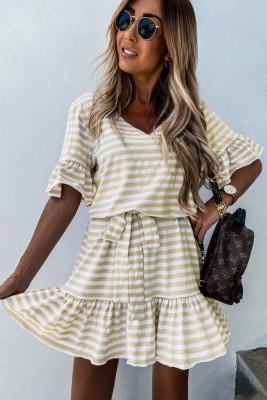 Stripes Ruffle Short Dress