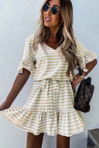 Stripes Ruffle Short Dress