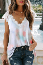 White Lace Splicing V Neck Short Sleeve Tie-dye Top