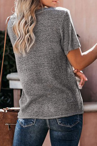 Gray Short Sleeve Knit Top LC251584