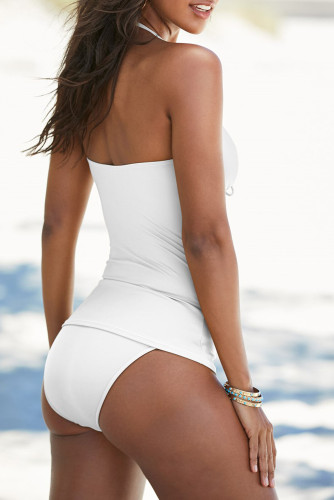 White Halter V Neck Ruched Tankini Set LC411224