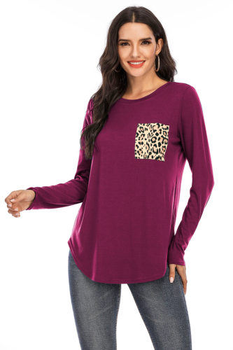 Rose Red Solid Top with Leopard Pocket