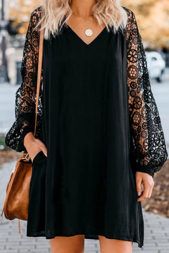 Black Lace Long Sleeves Shift Above Knee Dress LC221094