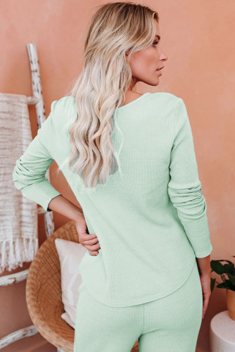 Green Cotton Modal Shirt and Pants Loungewear LC45066