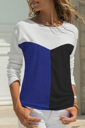 Blue Color Block Splicing O-Neck Blouse