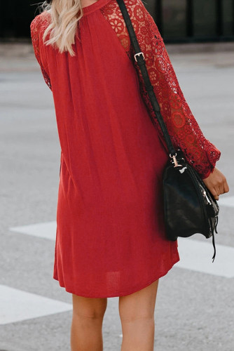 Red Lace Long Sleeves Shift Above Knee Dress LC221094