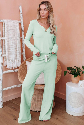 Green Cotton Modal Shirt and Pants Loungewear