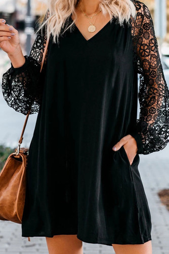 Black Lace Long Sleeves Shift Above Knee Dress