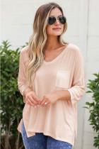 Light Pink Solid V-neck Three Quarter Sleeve T-shirt with Pocket
