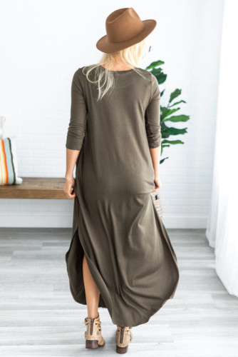 Green Pocketed Cotton Dress with Slit LC611579