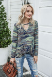 Camouflage V-neck Hollowed-out T-shirt