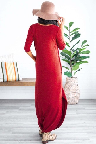 Red Pocketed Cotton Dress with Slit LC611579