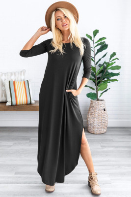 Black Pocketed Cotton Dress with Slit