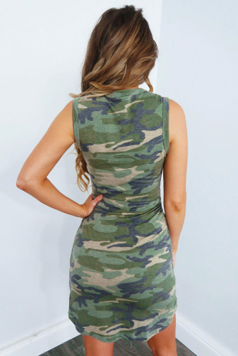 Camouflage Printed Tie Sleeveless Mini Dress LC221096