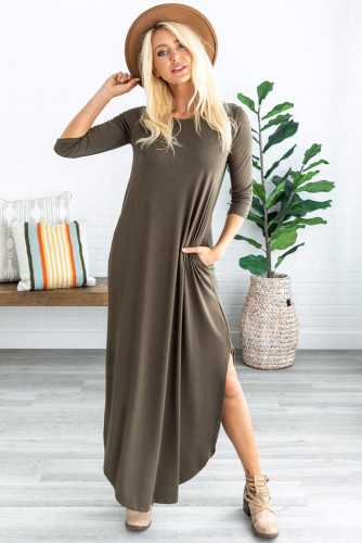 Green Pocketed Cotton Dress with Slit