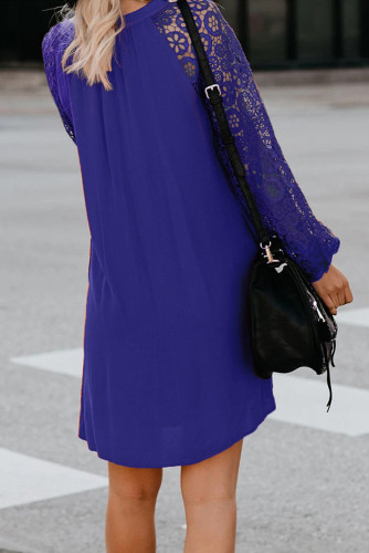 Blue Lace Long Sleeves Shift Above Knee Dress LC221094
