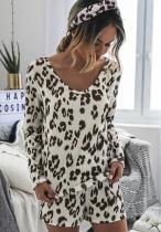 Leopard Print Loungewear Shorts Set