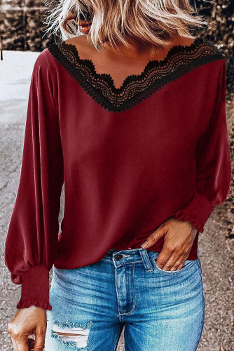V Neck Lace Patchwork Red Blouse LC255050