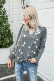 Grey Star Pattern V-neck Hollowed-out T-shirt