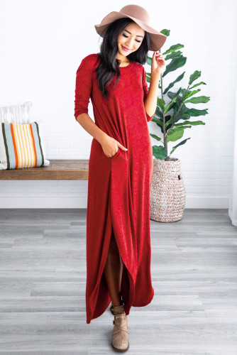 Red Pocketed Cotton Dress with Slit