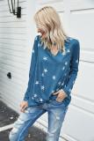 Dark Blue Star Pattern V-neck Hollowed-out T-shirt
